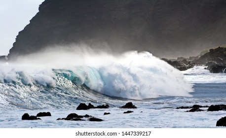 series of photographs of waves and the breaking sea on the coast of Tenerife,