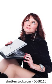 A series of photos about the girl and a computer.