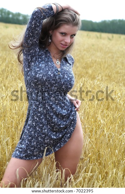 A series of photos of the girl on a grain field