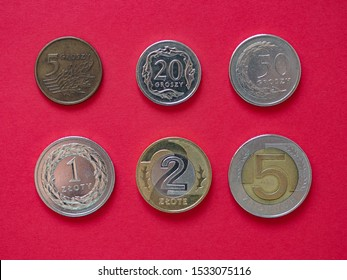 Series of Polish Zloty coins money (PLN), currency of Poland