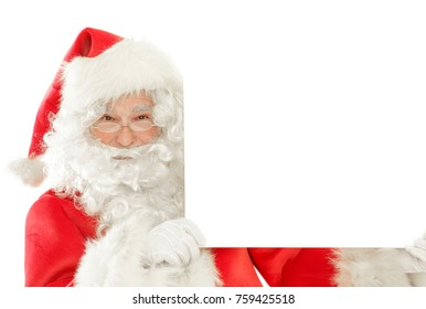 Series of Santa Claus isolated on White Cut out: Holding an empty Blank Sign playing peekaboo, Happy Smile