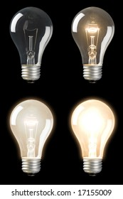Series of sequenced Light Bulbs at different brightness levels