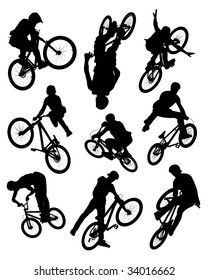 Series of silhouette photographs of bikers doing stunts.  Some motion blur is visible on the wheels and spokes.