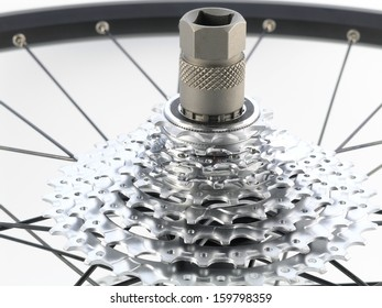 series sport:  rear bicycle cog cassette isolated on white background (close-up)