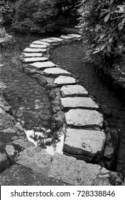 A series of stepping stones over a garden pond create an S-shaped path into the background. (Scanned from black and white film.)