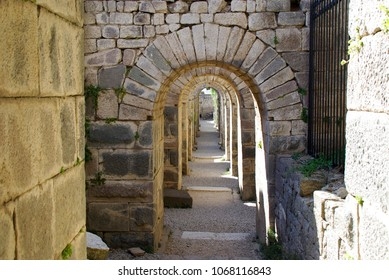 Series of stone arches in the ruins of Pergamon, Turkey