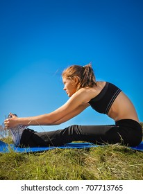 Series of stretching exercises before a run