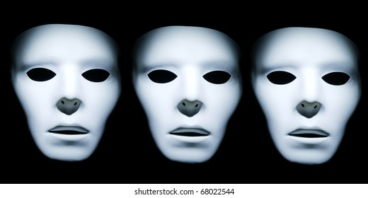 A series of three white faces against a black background.