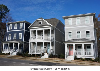 A series of three-story row houses in a town in North Carolina