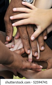 A series of various hands representing diversity.
