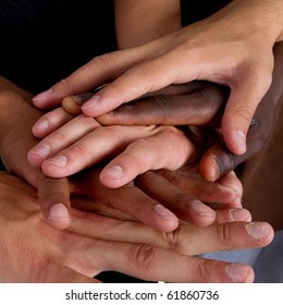 Series of various hands representing diversity.Lots of hands of different colors.