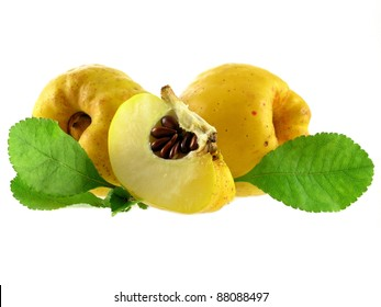 series of vegetables and fruits: quince isolated on white background