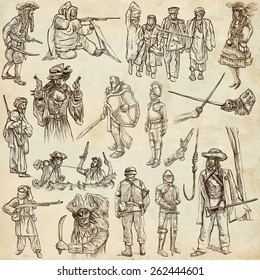 From series: WARRIORS and SOLDIERS - Collection of an hand drawn illustrations. Description: Full sized hand drawn illustrations, original freehand sketches on old paper. Pack no.5