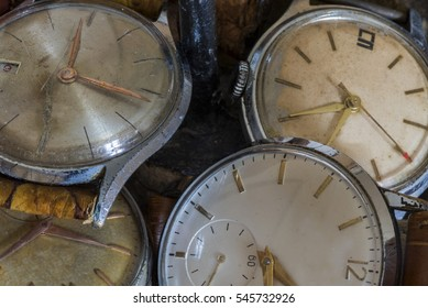 series of wristwatches, antique watches, top view,