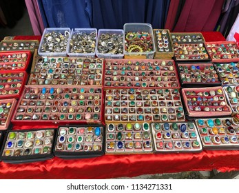 Serikin, Sarawak - 15 April 2018 : Hundred of ring stone was selling at the Serikin Market with low price and multi colour stone.