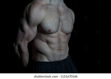 Serious about staying in shape. Torso with six packs looks attractive on black background. Muscular torso huge muscles result of exhausting trainings and proper nutrition. Achieve muscular torso tips.