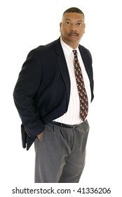 Serious African American wearing a jacket and tie