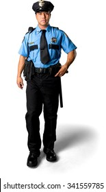 Serious Asian man with short black hair in uniform walking - Isolated