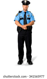 Serious Asian man with short black hair in uniform holding arm - Isolated
