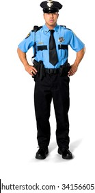 Serious Asian man with short black hair in uniform with hands on hips - Isolated