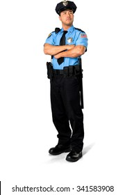 Serious Asian man with short black hair in uniform with arms folded - Isolated