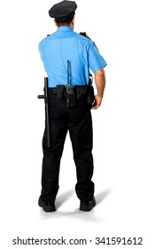 Serious Asian man with short black hair in uniform using prop - Isolated