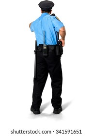 Serious Asian man with short black hair in uniform holding handgun - Isolated