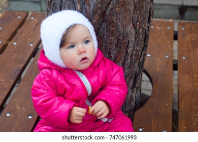 Serious baby sitting on a wooden bench. Autumn garden portrait. Baby emotions, baby wear, autumn concept