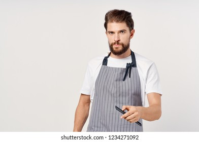 serious barber aprons with hairbrush