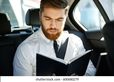 Serious bearded business man sitting on back seat of a car while reading book