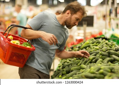 Serious bearded man looking at cucumbers and choosing vegetables. Handsome man in grey t shirt  holding red basket with products. Concept of gastronomy and organic food.