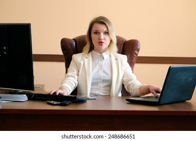 Serious blonde secretary