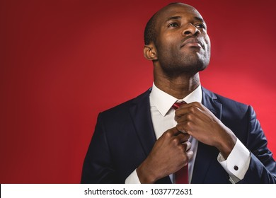 Serious business attitude. Elegant sucessful young man is standing and adjusting his tie. Copy space in the left side. Isolated on red background