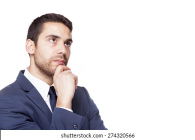 Serious business man thinking, isolated on white background