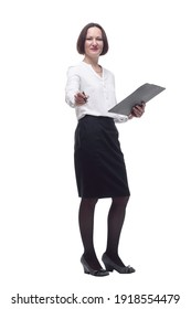 serious business woman with clipboard pointing at you .