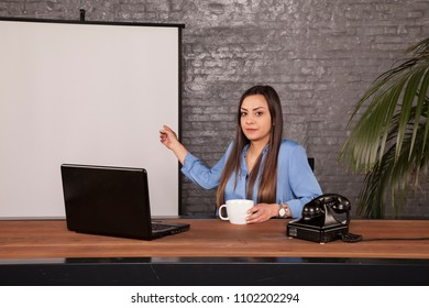 serious business woman presenting an empty space