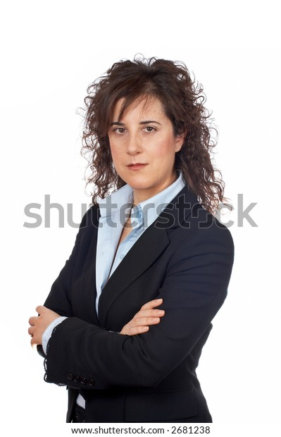 Serious business woman standing over a white background