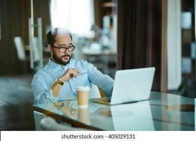 Serious businessman at work