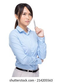 Serious businesswoman think of idea