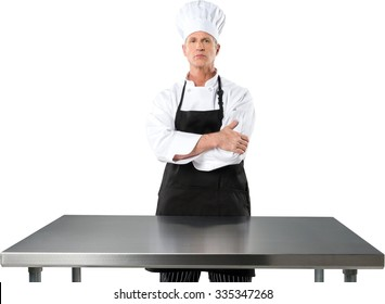 Serious Caucasian Chef Standing with Arms Crossed - Isolated