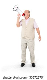Serious Caucasian elderly man with short grey hair in casual outfit using megaphone - Isolated
