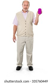 Serious Caucasian elderly man with short grey hair in casual outfit holding phone placeholder - Isolated