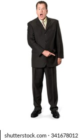 Serious Caucasian elderly man with short medium brown hair in business formal outfit pointing using finger - Isolated