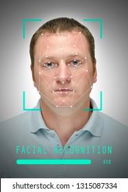 serious caucasian man with facial recognition frame, closeup
