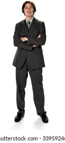 Serious Caucasian man with short dark brown hair in business formal outfit using headset - Isolated