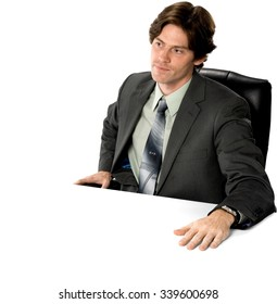 Serious Caucasian man with short dark brown hair in business formal outfit - Isolated