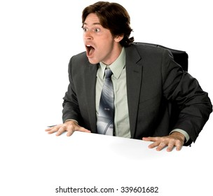 Serious Caucasian man with short dark brown hair in business formal outfit holding Breath - Isolated