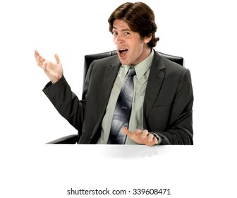Serious Caucasian man with short dark brown hair in business formal outfit pointing using palm - Isolated