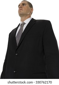 Serious Caucasian man with short medium brown hair in business formal outfit - Isolated