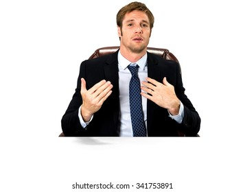 Serious Caucasian man with short medium blond hair in business formal outfit talking with hands - Isolated